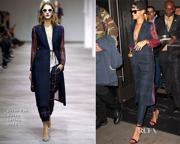 Rihanna In Dries van Noten - Out In New York