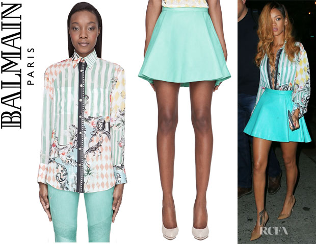 Rihanna's Balmain Printed Silk Blouse And Balmain Pleated Leather Skirt
