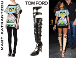 Rihanna's Mary Katrantzou 'Teleport' Tunic And Tom Ford Boots