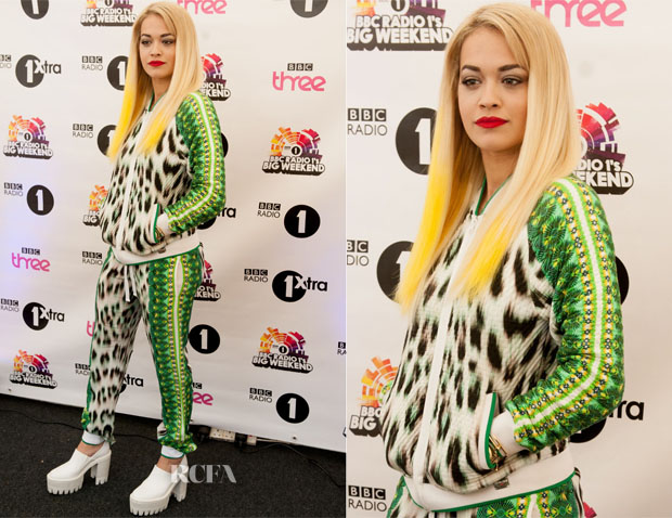 Rita Ora In Roberto Cavalli Gym - Radio 1 Big Weekend Festival