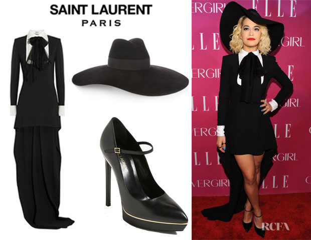 Rita Ora's Saint Laurent Sequin Embellished Gown, Saint Laurent Wide Brimmed Fedora And Saint Laurent 'Mary Jane' Platform Pumps