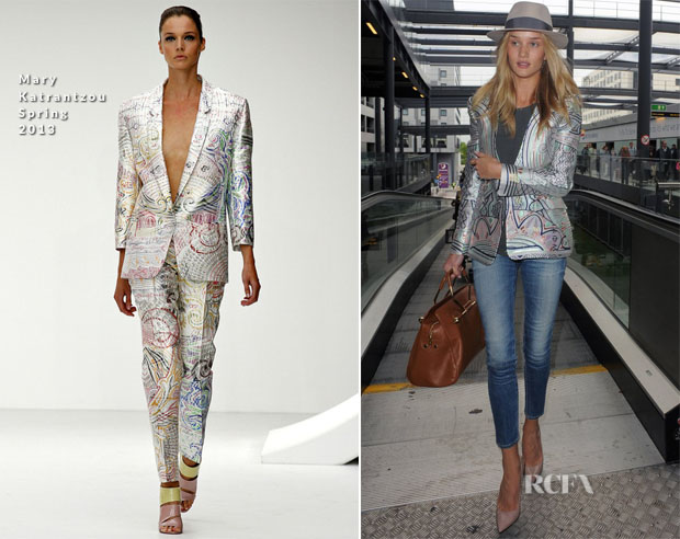 Rosie Huntington-Whiteley In Mary Katrantzou - Gatwick Airport