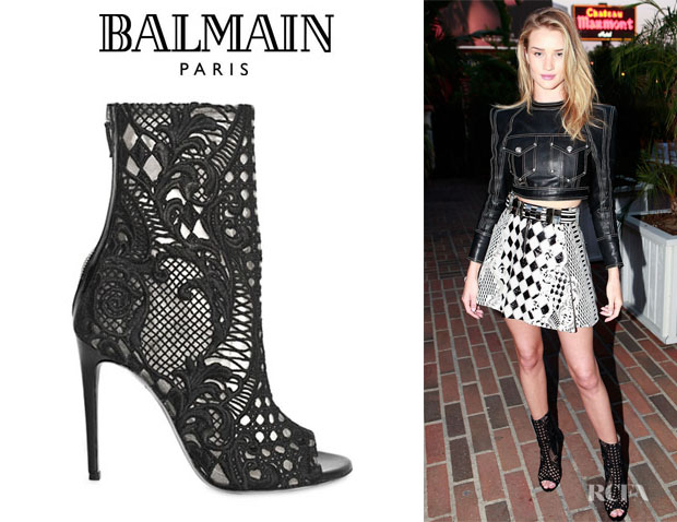 Rosie Huntington-Whiteley's Balmain Lace Open Toe Boots