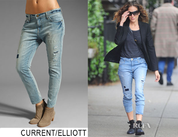 Sarah Jessica Parker's Current Elliott Old Glory Destroy The Slouchy Stiletto Jean