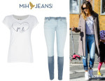 Sarah Jessica Parker's MiH Jeans Heart Print T-Shirt And MiH Jeans Breathless Skinny Jeans