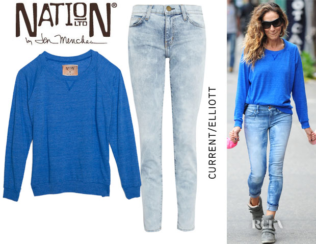 Sarah Jessica Parker's Nation Ltd Raglan Sweatshirt & Current Elliott The Stiletto Crazy Wash Jeans