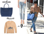 Selma Blair's Madewell Zebra Studio Sweater, 7 For All Mankind 'Josefina' Jeans And Hogan Logo Tote