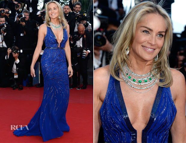 Sharon Stone In Roberto Cavalli - 'Behind the Candelabra' Cannes Film Festival Premiere