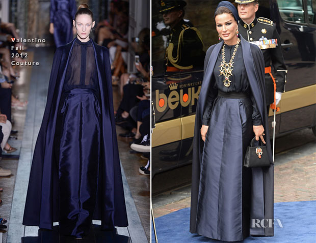 Sheikha Mozah bint Nasser al Missned of Qatar In Valentino Couture - Inauguration Of King Willem Alexander of the Netherlands