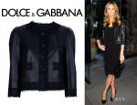 Stacy Keibler's Dolce & Gabbana Leather Lace Cropped Jacket