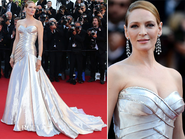 Uma Thurman In Atelier Versace - 'Zulu' Cannes Film Festival Premiere and Closing Ceremony