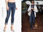 Uma Thurman's Goldsign 'Jenny' High Waist Crop Skinny Jeans