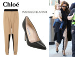 Victoria Beckham's Chloé Paneled Crepe Tapered Pants And Manolo Blahnik 'BB' Pumps