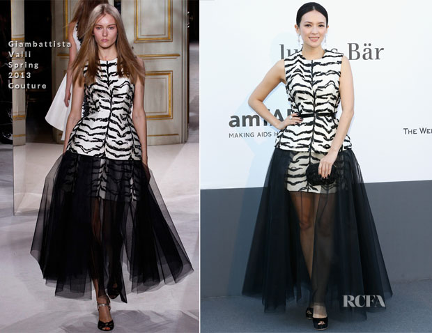 Zhang Ziyi In Giambattista Valli Couture - amfAR Cinema Against AIDS Gala
