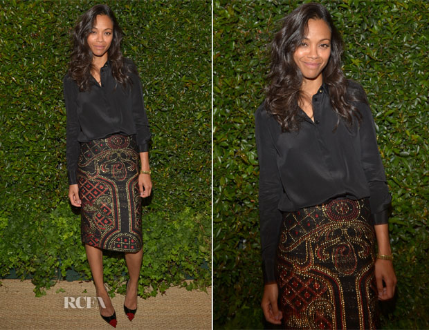 Zoe Saldana In Prabal Gurung - Vogue and MAC Cosmetics Dinner Party