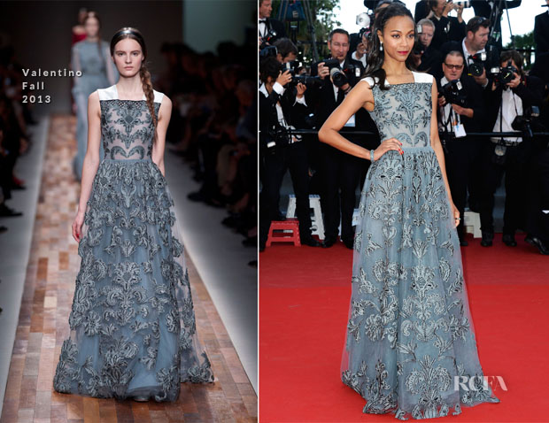 Zoe Saldana In Valentino - 'Blood Ties' Cannes Film Festival Premiere