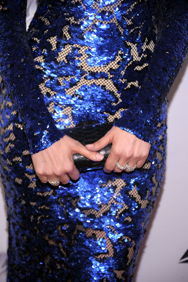 Jennifer Lopez' Thalé Blanc 'Talia Fasteux' python clutch and Harry Winston jewels