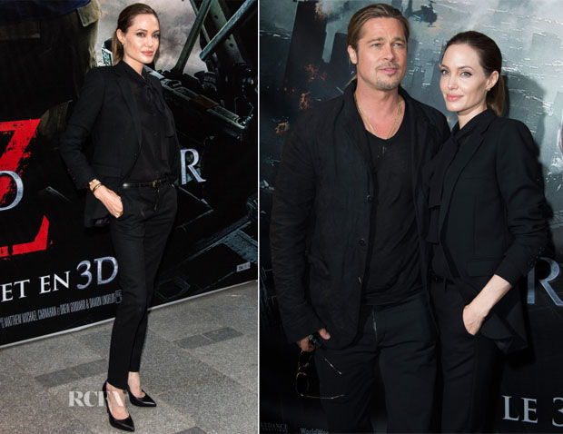 Angelina Jolie In Saint Laurent - 'World War Z' Paris Premiere