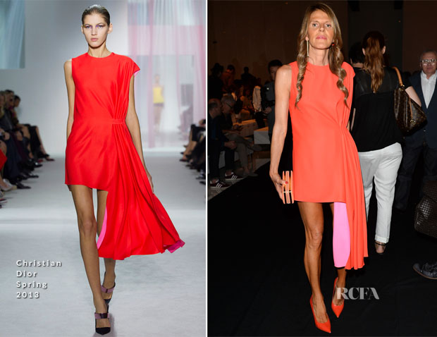 Anna Dello Russo In Christian Dior - Gucci Spring 2014 Menswear Show