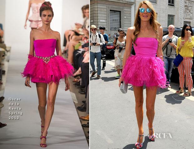 Anna Dello Russo In Oscar de la Renta - Salvatore Ferragamo Spring 2014 Menswear Show