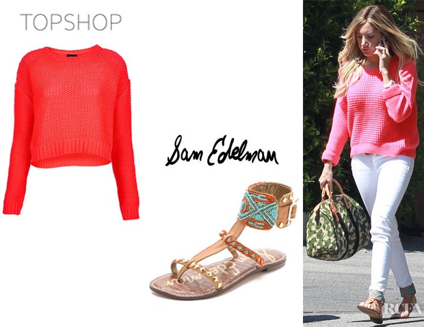 Ashley Tisdale's Topshop Knitted Fluro Pink Crop Jumper And Sam Edelman 'Gabrianna' Ankle Cuff Sandals