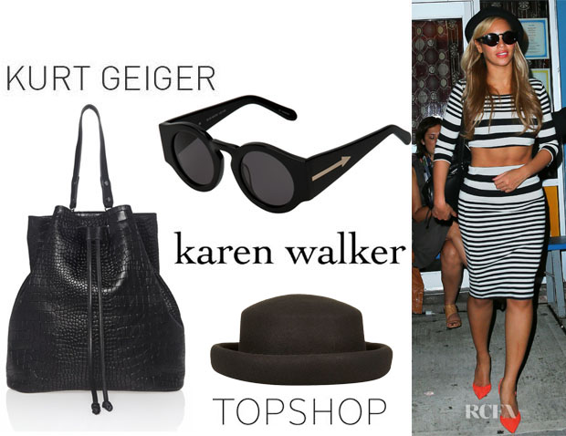 Beyonce-Knowles-Kurt-Geiger-Dash-Rucksack-And-Karen-Walker-Blue-Moon-Sunglasses-topshop hat