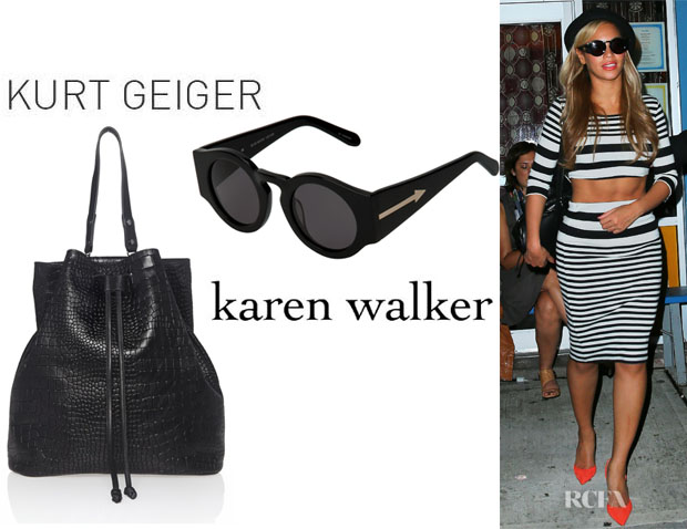 Beyonce Knowles' Kurt Geiger 'Dash' Rucksack And Karen Walker 'Blue Moon' Sunglasses