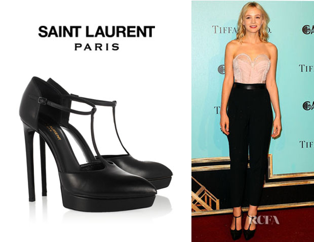Carey Mulligan's Saint Laurent Pointed Leather 'Mary-Jane' Pumps
