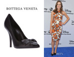 Christa B. Allen's Suno Floral Print Dress And Bottega Veneta Bow Stiletto Pumps
