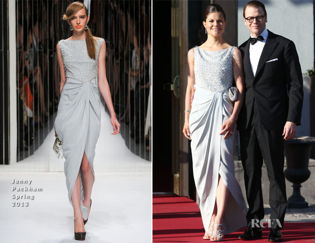 Crown Princess Victoria of Sweden In Jenny Packham - Pre-Wedding Dinner