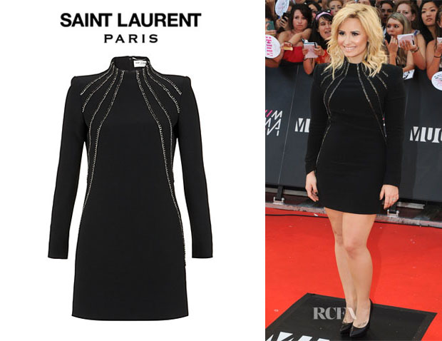 Demi Lovato's Saint Laurent Chain Front Dress