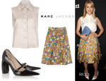 Dianna Agron's Marc Jacobs Ruffle Blouse,  Floral-and-Butterfly Print Pleated Skirt & Mary Jane Pumps