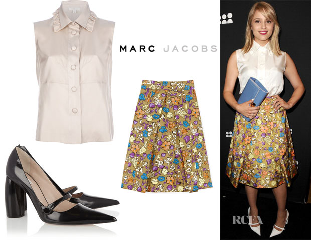 Dianna Agrons's Marc Jacobs Ruffle Blouse,  Floral-and-Butterfly Print Pleated Skirt & Mary Janes Pumps