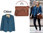 Emma Stone's Chloé Wool-Crepe Blazer And The Cambridge Company Leather Satchel