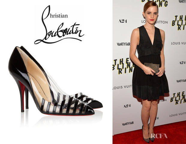 Emma Watson's Christian Louboutin 'Pivichic' Striped Leather And PVC Pumps