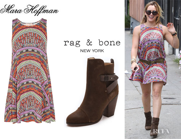 Hilary Duff's Mara Hoffman Rainbow Printed Dress And Rag & Bone 'Kinsey' Boots