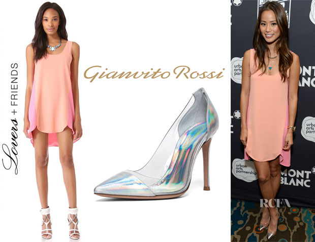 Jamie Chung's Lovers + Friends Dandy Shift Dress & Gianvito Rossi Plexy Laser Pump
