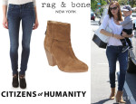 Jennifer Garner's Citizens of Humanity 'Avedon' Skinny Jeans And Rag & Bone 'Newbury' Booties