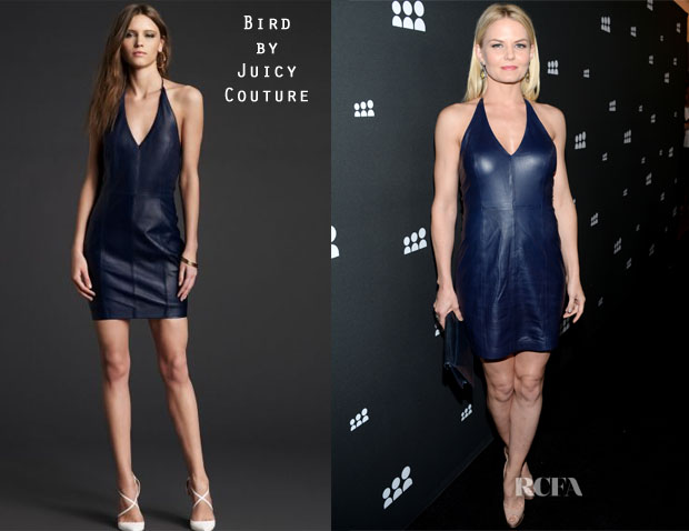 Jennifer Morrison's Bird by Juicy Couture Tolulah Fitted Halter Leather Dress