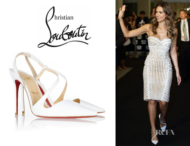 Jessica Alba's Christian Louboutin 'June' Leather Slingback Pumps