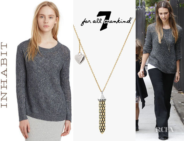 Jessica Alba's Inhabit Asymmetrical Cable Crew Sweater and 7 Necklace