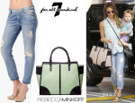 Jessica Alba's  7 For All Mankind Josefina Skinny Boyfriend Jean & Rebecca Minkoff The Sienna Tote