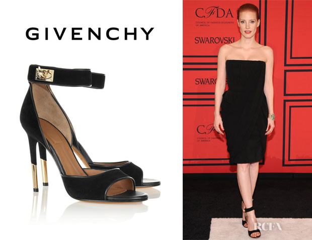Jessica Chastain's Givenchy Suede Ankle Strap Sandals