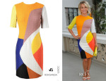 Julianne Hough's Roksanda Ilincic Colour-Block Patchwork Boucle Wool Dress