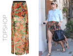 Julianne Hough's Topshop Double Slit Floral Maxi Skirt