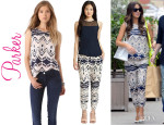 Kate Beckinsale's Parker 'Hanna' Printed Top And Parker 'Devlin' Silk Pants