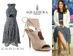 Katharine McPhee's Carven Macramé Lace and Silk Dress & Aquazzura 'Sexy Thing' Cutout Booties