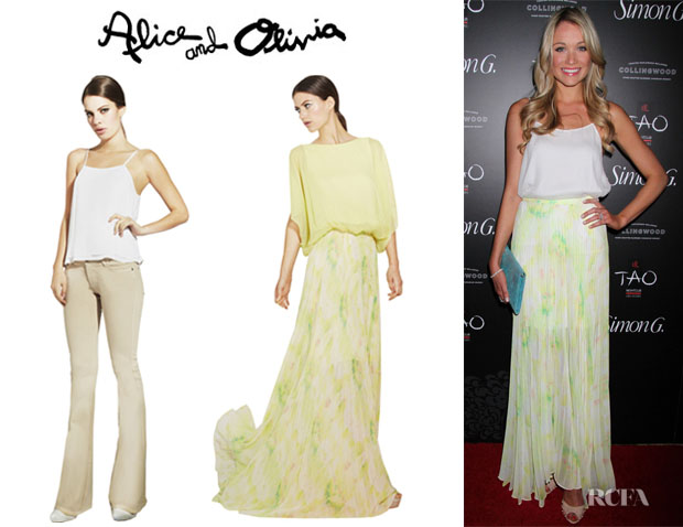 Katrina Bowden's Alice + Olivia Silk Tank And Alice + Olivia 'Shannon' Pleated Maxi Skirt