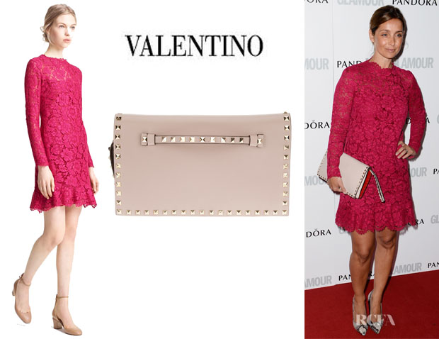 Louise Redknapp's Valentino Lace Dress And Valentino 'Rockstud' Clutch