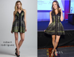 Louise Roe's Robert Rodriguez Jacquard Solid-Accent Dress